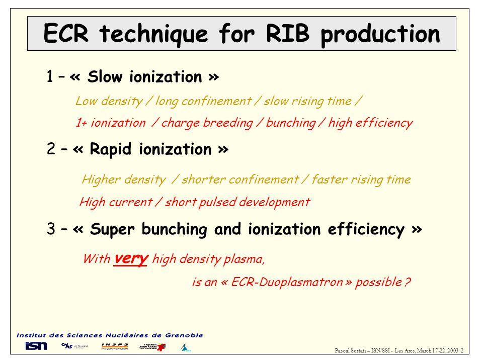 Pascal Sortais – ISN/SSI - Les Arcs, March 17-22, 2003 2 ECR technique for RIB production 1 – « Slow ionization » Low density / long confinement / slo
