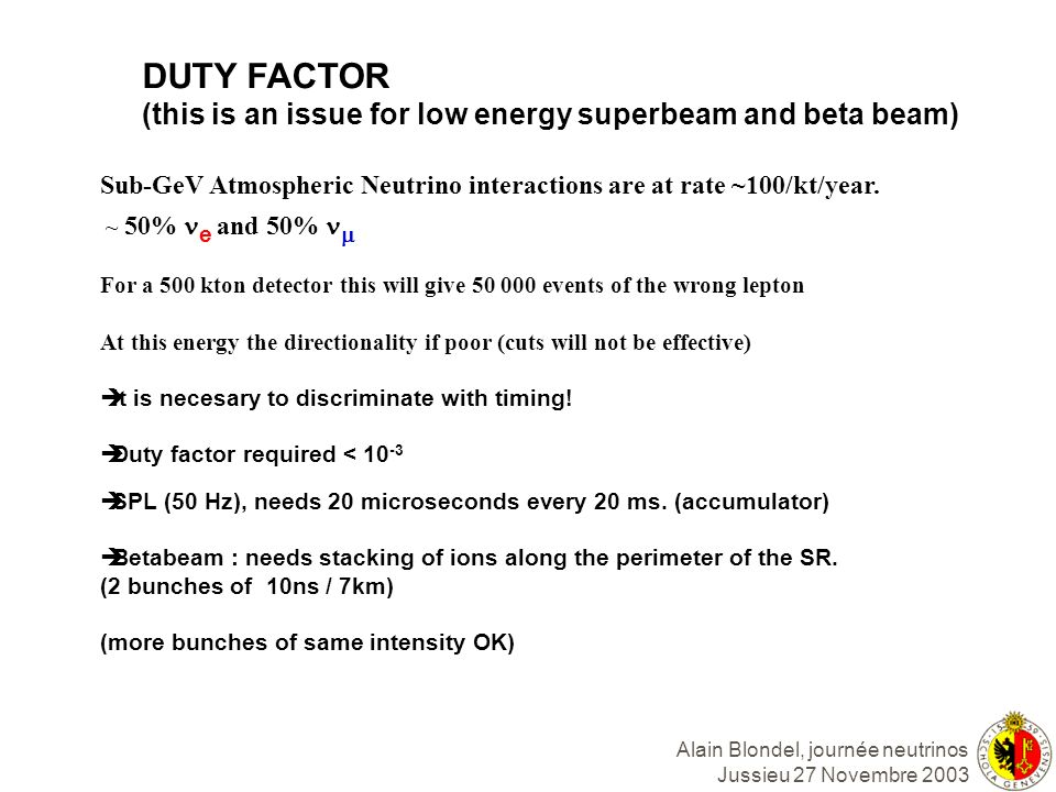Alain Blondel, journée neutrinos Jussieu 27 Novembre 2003 DUTY FACTOR (this is an issue for low energy superbeam and beta beam) Sub-GeV Atmospheric Ne