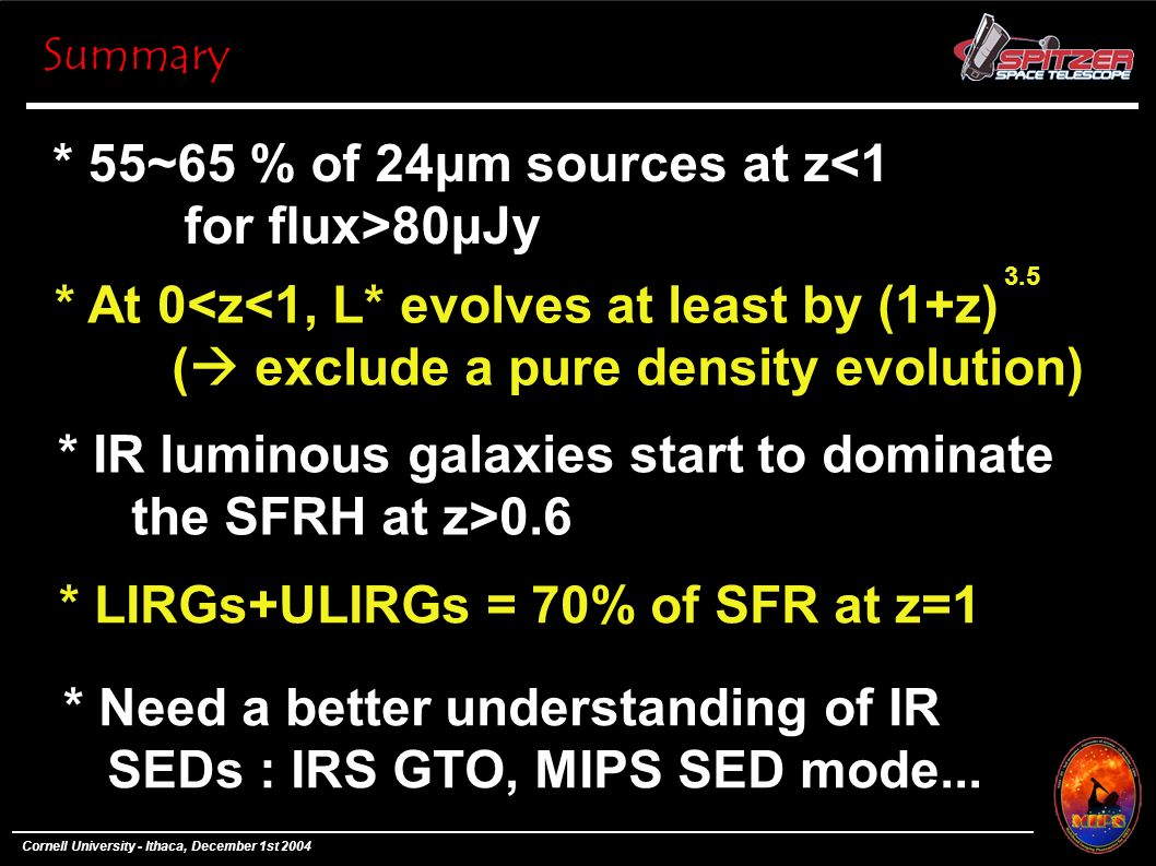 * 55~65 % of 24μm sources at z<1 for flux>80μJy Summary * At 0<z<1, L* evolves at least by (1+z) ( exclude a pure density evolution) 3.5 * IR luminous galaxies start to dominate the SFRH at z>0.6 * LIRGs+ULIRGs = 70% of SFR at z=1 * Need a better understanding of IR SEDs : IRS GTO, MIPS SED mode...