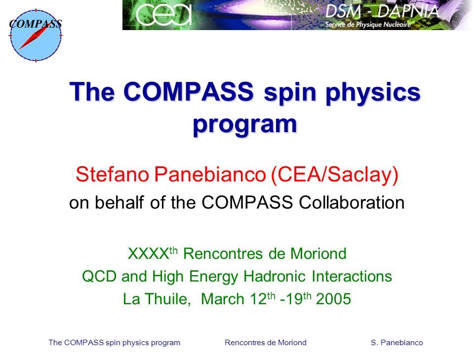 The COMPASS spin physics program Rencontres de Moriond S. Panebianco The COMPASS spin physics program Stefano Panebianco (CEA/Saclay) on behalf of the