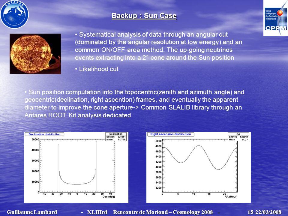 Guillaume Lambard - XLIIIrd Rencontre de Moriond – Cosmology 2008 - 15-22/03/2008 Guillaume Lambard - XLIIIrd Rencontre de Moriond – Cosmology 2008 -