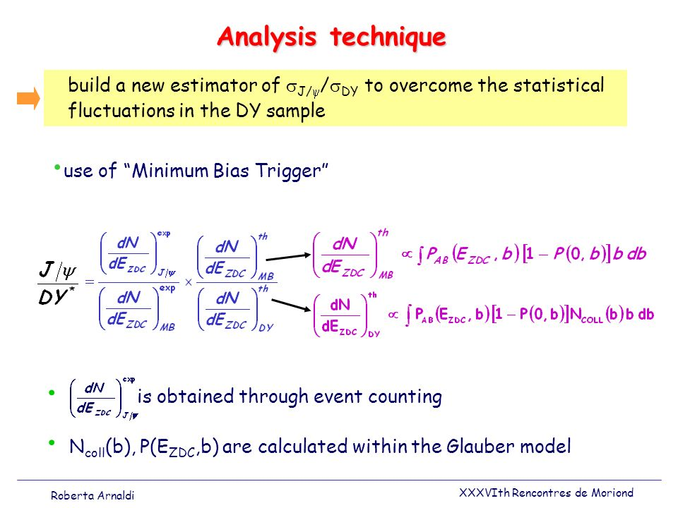Analysis technique build a new estimator of J/ / DY to overcome the statistical fluctuations in the DY sample N coll (b), P(E ZDC,b) are calculated wi