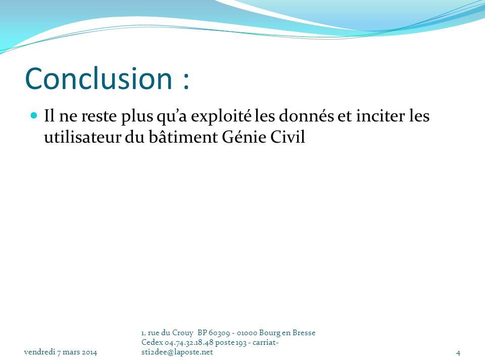 Conclusion : Il ne reste plus qua exploité les donnés et inciter les utilisateur du bâtiment Génie Civil vendredi 7 mars 2014 1, rue du Crouy BP 60309 - 01000 Bourg en Bresse Cedex 04.74.32.18.48 poste 193 - carriat- sti2dee@laposte.net4