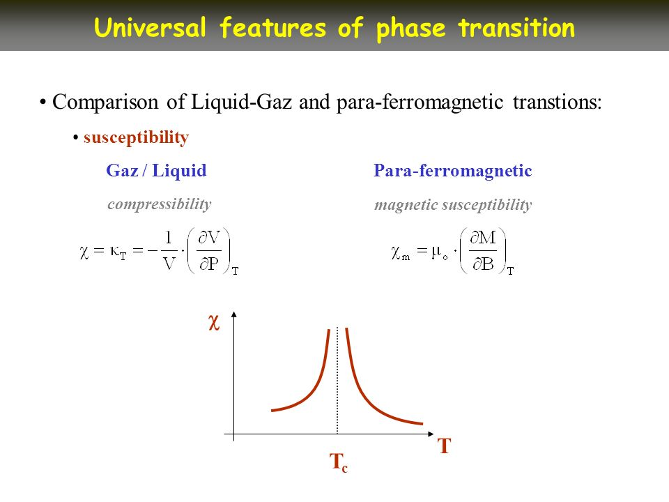 Comparison of Liquid-Gaz and para-ferromagnetic transtions: susceptibility Gaz / LiquidPara-ferromagnetic Universal features of phase transition T TcTc compressibility magnetic susceptibility