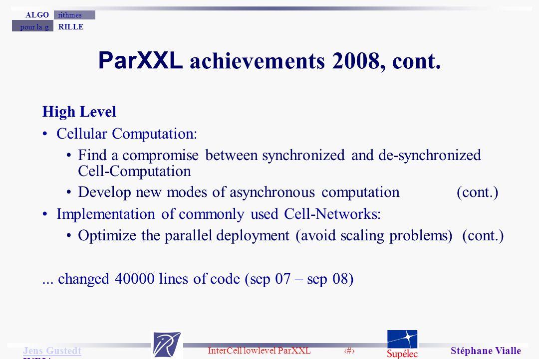 InterCell lowlevel ParXXL 12 Jens Gustedt Jens Gustedt INRIA RILLEpour la g rithmesALGO Stéphane Vialle ParXXL achievements 2008, cont.