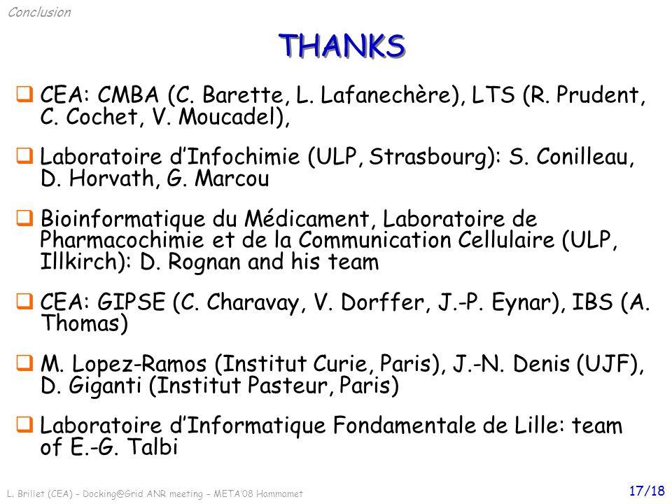 L. Brillet (CEA) – Docking@Grid ANR meeting – META08 Hammamet 17/18 CEA: CMBA (C. Barette, L. Lafanechère), LTS (R. Prudent, C. Cochet, V. Moucadel),