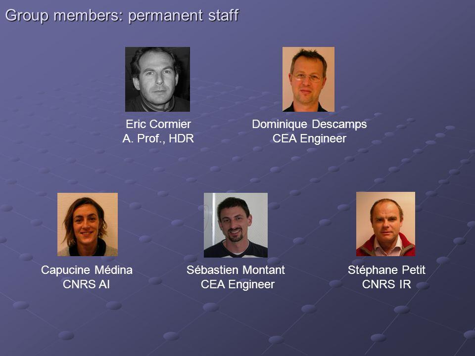 Group members: permanent staff Eric Cormier A. Prof., HDR Dominique Descamps CEA Engineer Capucine Médina CNRS AI Sébastien Montant CEA Engineer Stéph