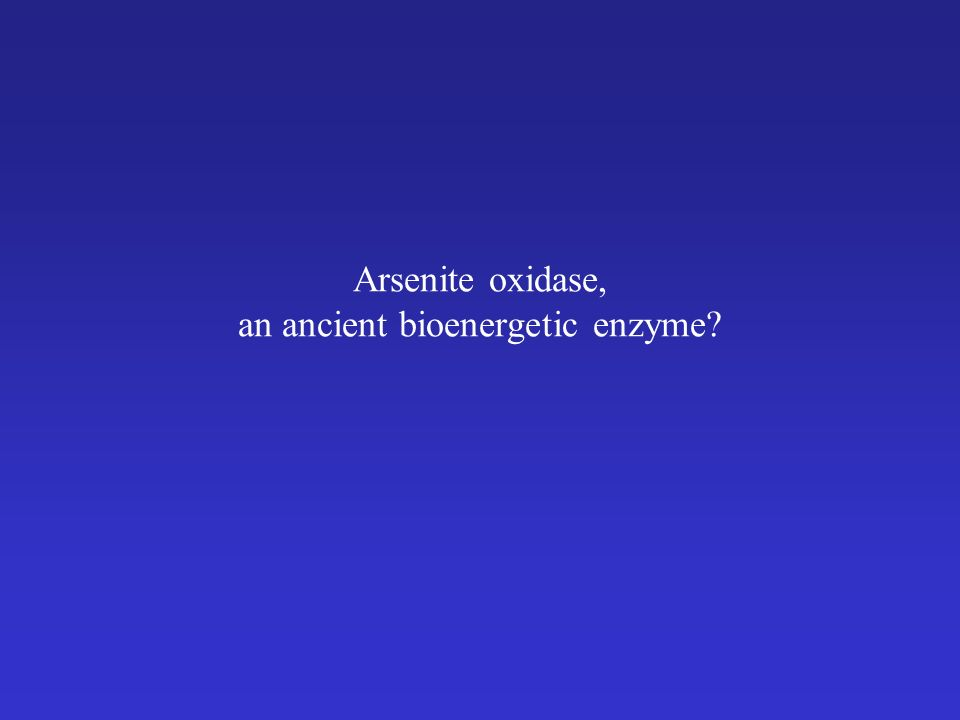 Arsenite oxidase, an ancient bioenergetic enzyme