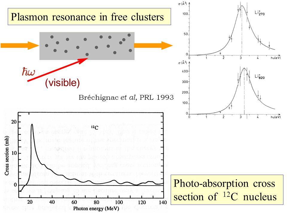 Bréchignac et al, PRL 1993 (visible) Photo-absorption cross section of 12 C nucleus Plasmon resonance in free clusters