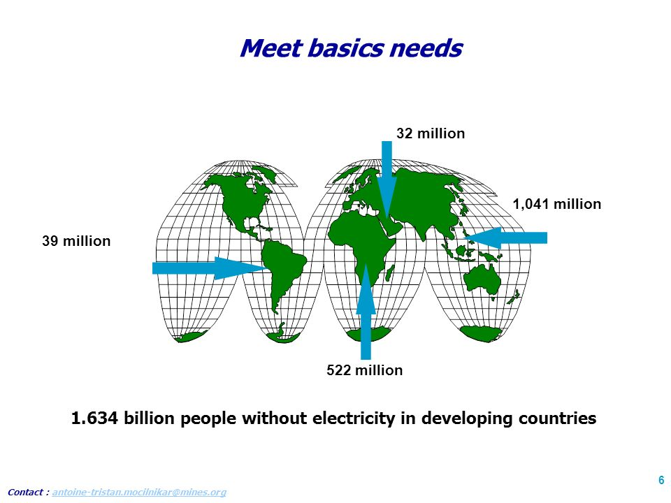 Contact : antoine-tristan.mocilnikar@mines.organtoine-tristan.mocilnikar@mines.org 6 Meet basics needs 32 million 1,041 million 522 million 39 million 1.634 billion people without electricity in developing countries