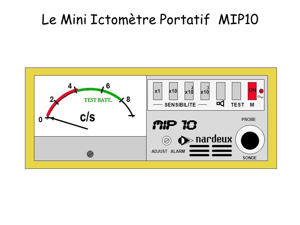 x1x10 SENSIBILITE 2 x10 3 x10 TEST ON ADJUST ALARM PROBE SONDE M 0 2 46 8 TEST BATT. c/s Le Mini Ictomètre Portatif MIP10