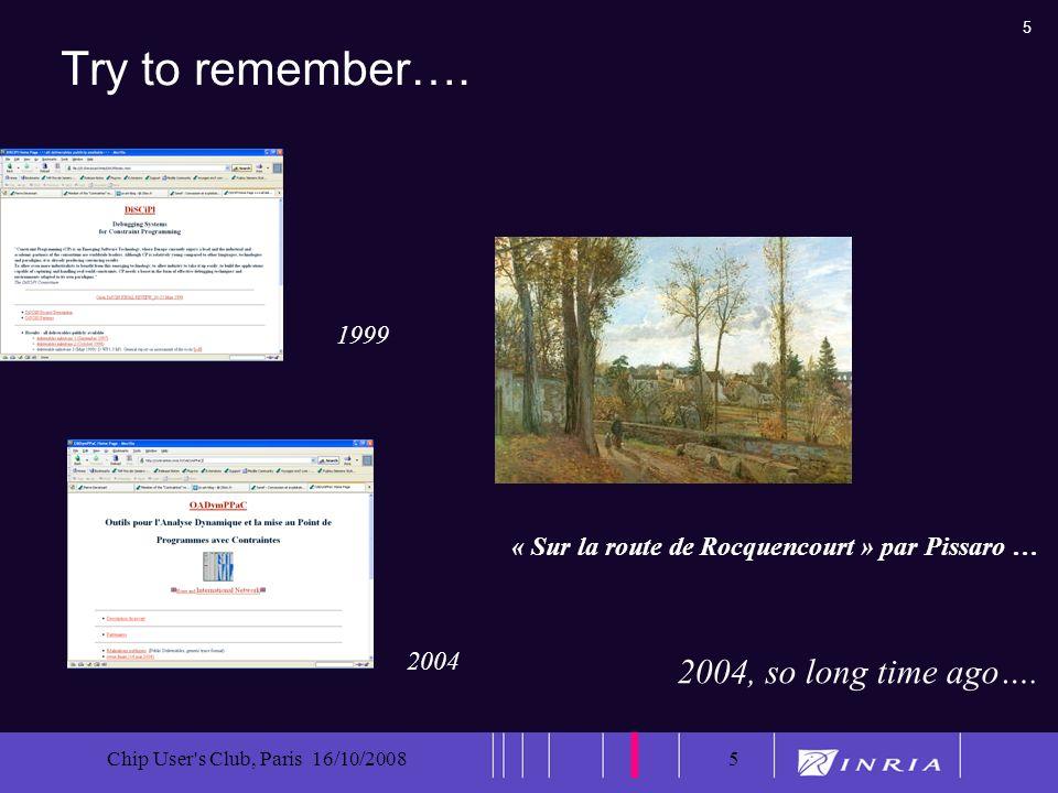5 Chip User's Club, Paris 16/10/20085 Try to remember…. « Sur la route de Rocquencourt » par Pissaro … 2004, so long time ago…. 1999 2004