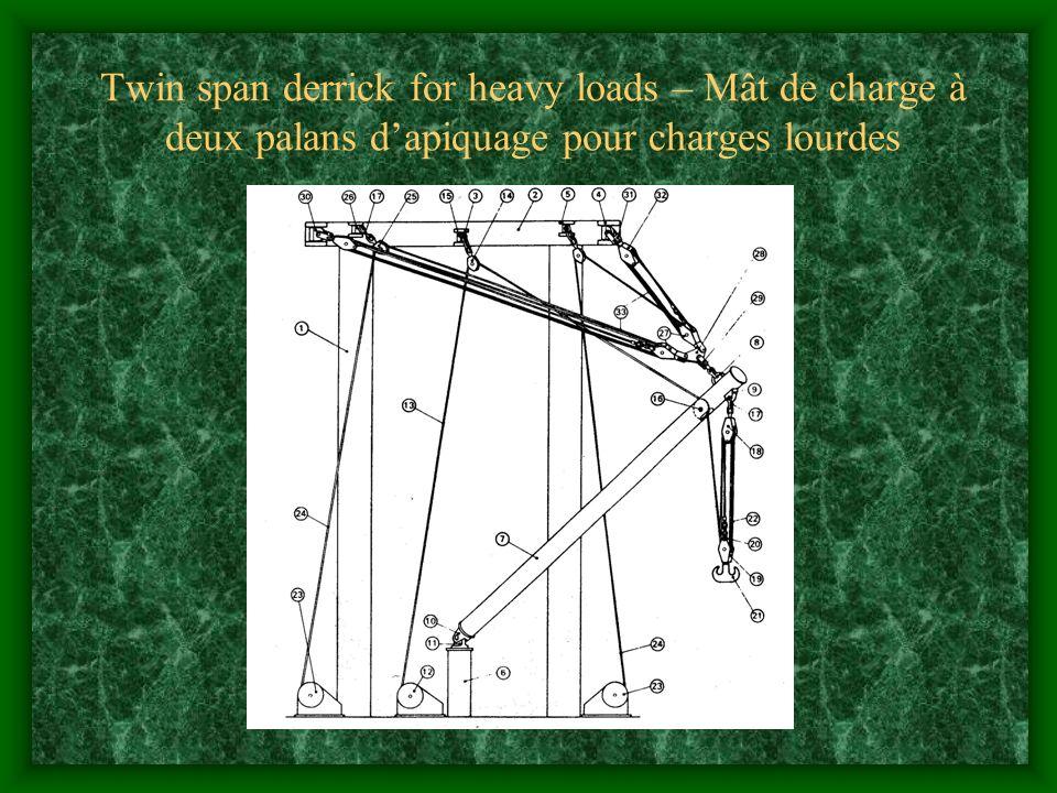 Twin span derrick for heavy loads – Mât de charge à deux palans dapiquage pour charges lourdes