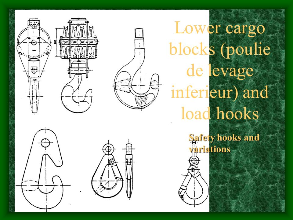 Lower cargo blocks (poulie de levage inferieur) and load hooks Safety hooks and variations