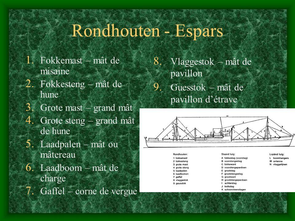 Rondhouten - Espars 1. Fokkemast – mât de misaine 2. Fokkesteng – mât de hune 3. Grote mast – grand mât 4. Grote steng – grand mât de hune 5. Laadpale