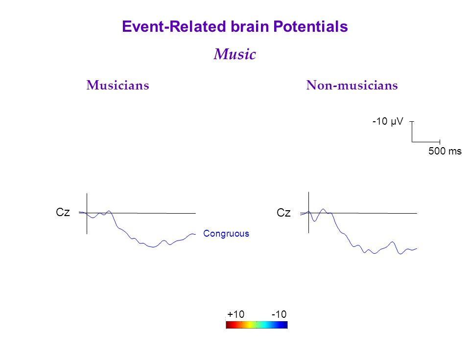 Cz Musicians Non-musicians Event-Related brain Potentials Music Congruous -10 µV 500 ms +10-10