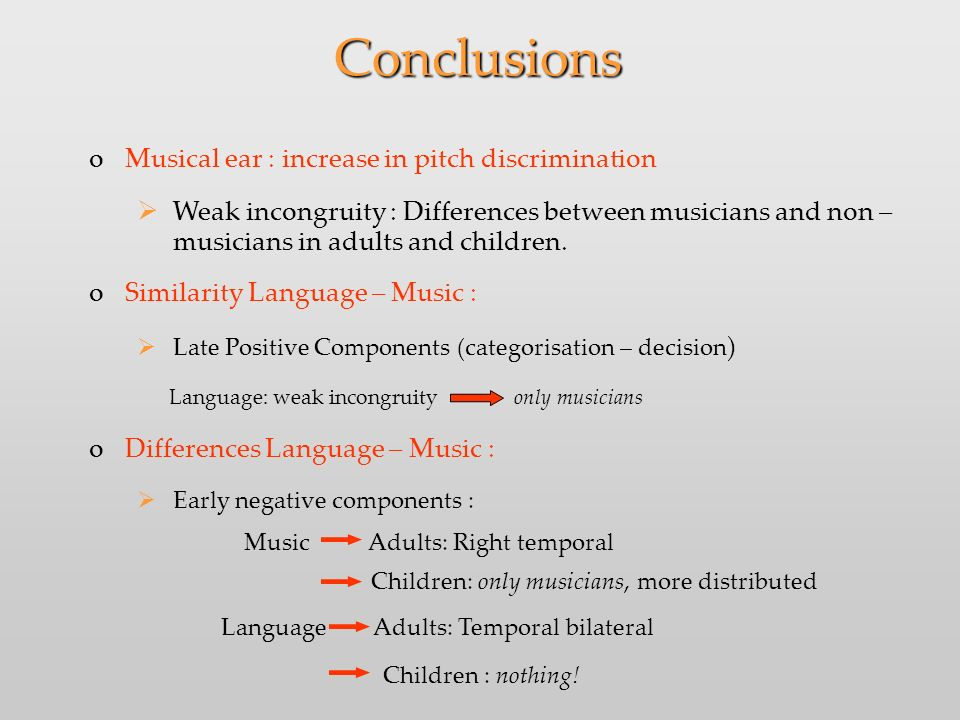 Conclusions oMusical ear : increase in pitch discrimination Weak incongruity : Differences between musicians and non – musicians in adults and children.