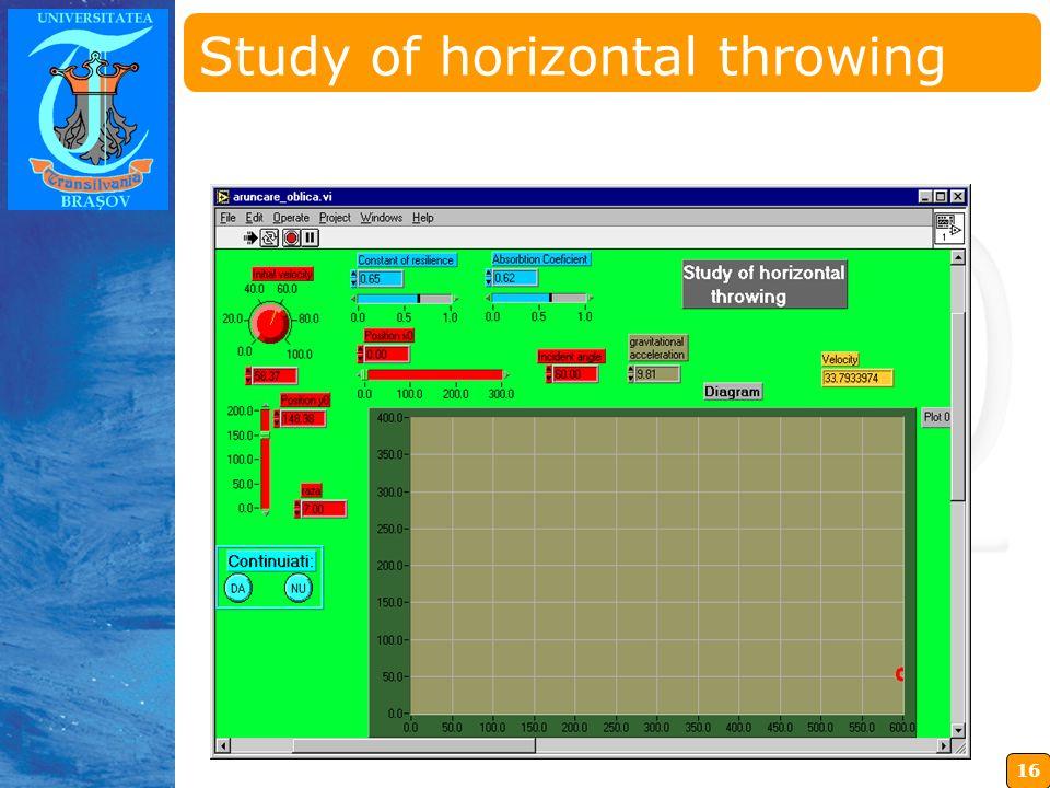 16 Insérez ici votre logo Study of horizontal throwing