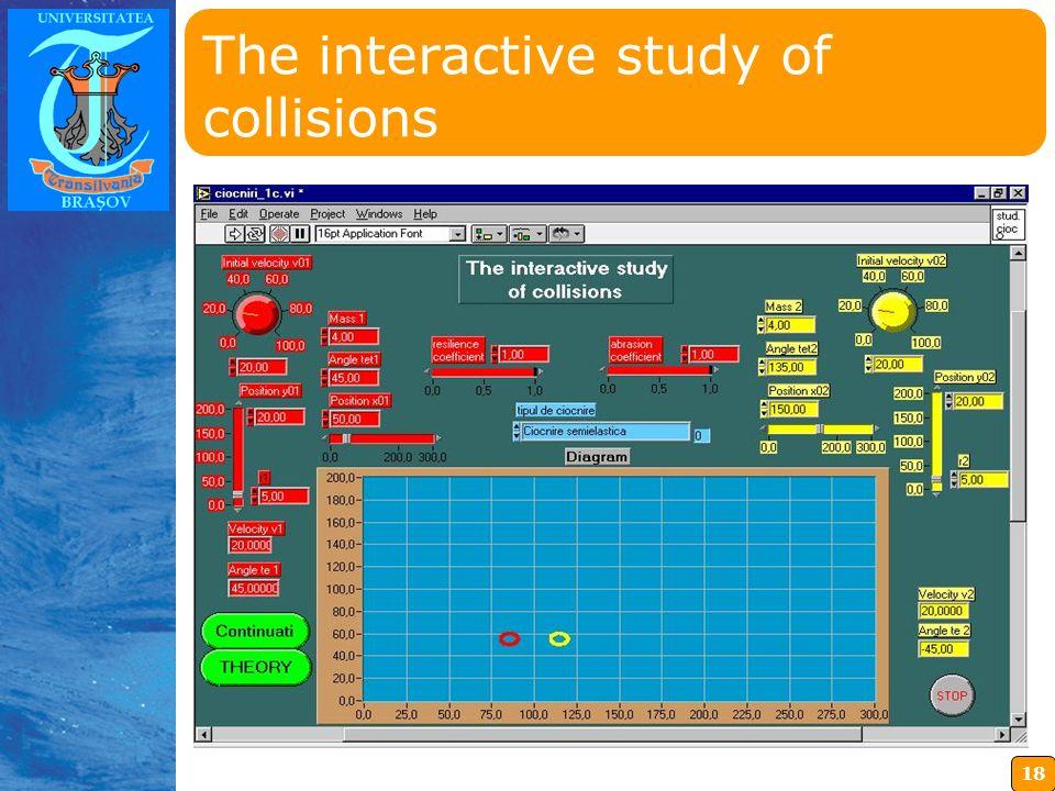 18 Insérez ici votre logo The interactive study of collisions
