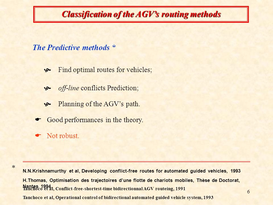 6 Classification of the AGVs routing methods Not robust.