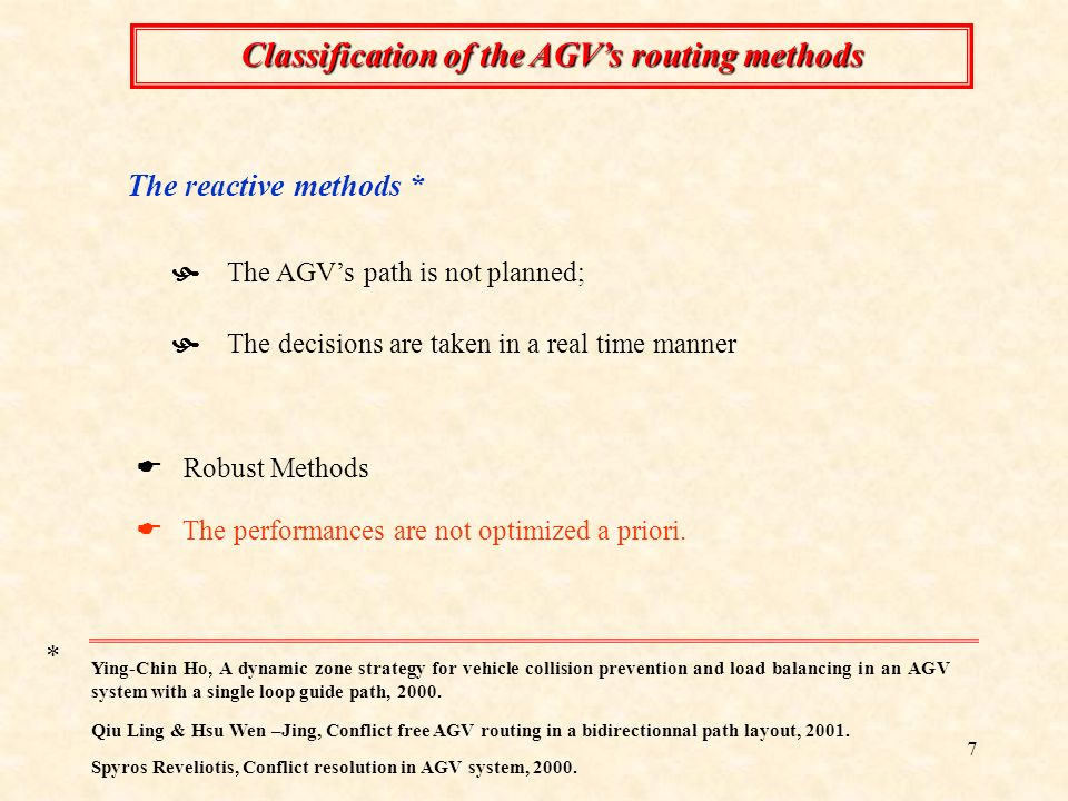7 Classification of the AGVs routing methods The performances are not optimized a priori.