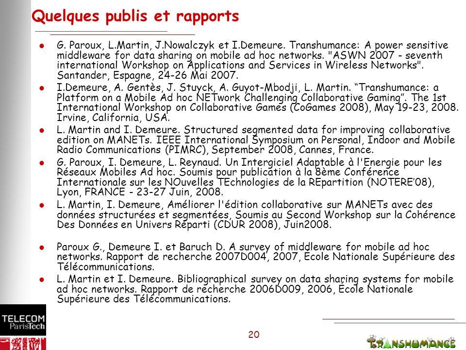 20 Quelques publis et rapports l G. Paroux, L.Martin, J.Nowalczyk et I.Demeure.