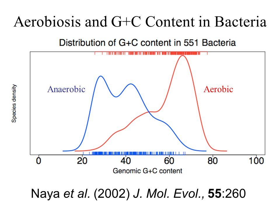 Aerobiosis and G+C Content in Bacteria AerobicAnaerobic Naya et al. (2002) J. Mol. Evol., 55:260