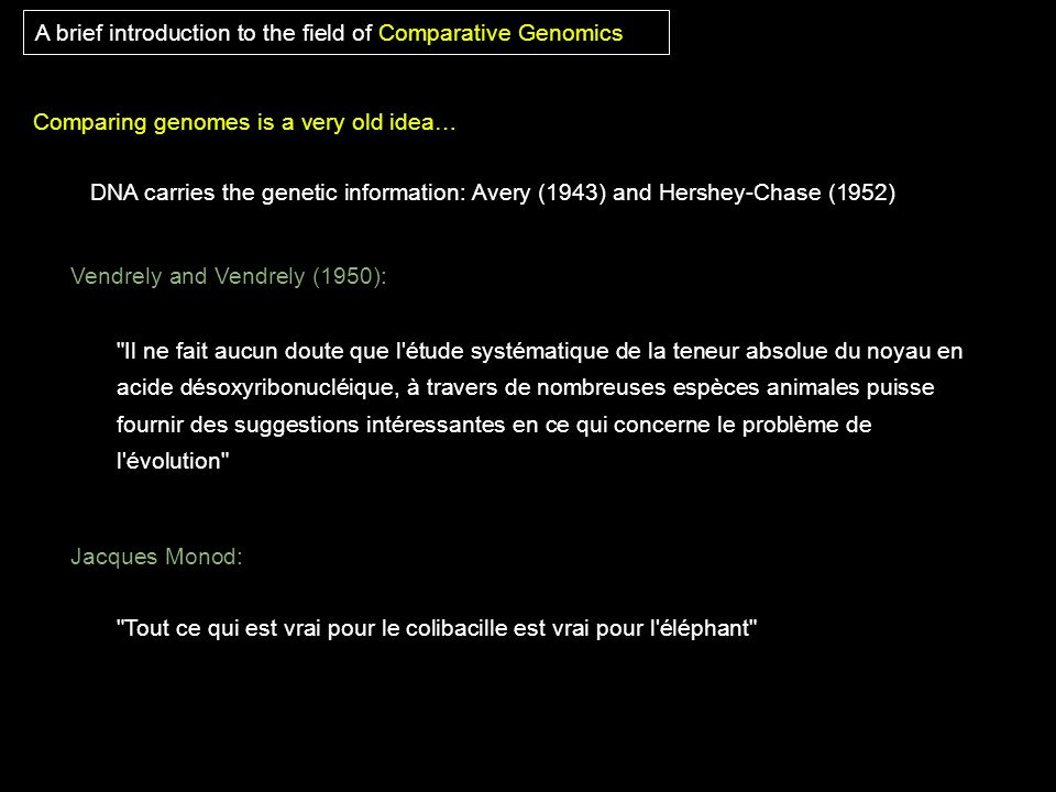 A brief introduction to the field of Comparative Genomics Vendrely and Vendrely (1950):