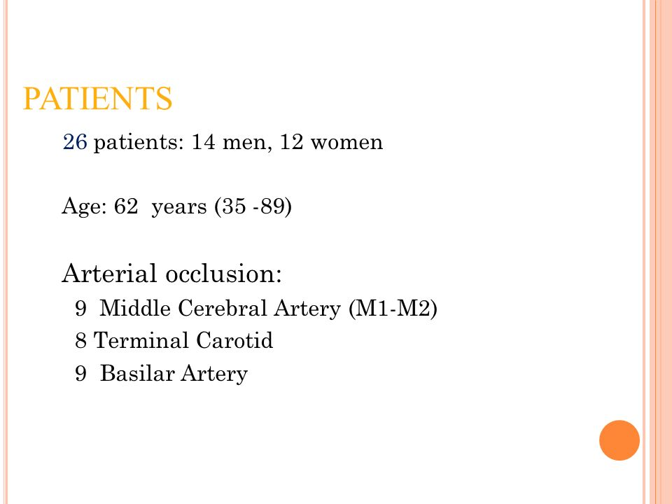 PATIENTS 26 patients: 14 men, 12 women Age: 62 years (35 -89) Arterial occlusion: 9 Middle Cerebral Artery (M1-M2) 8 Terminal Carotid 9 Basilar Artery