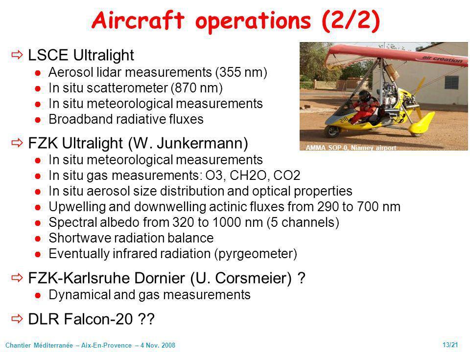 Chantier Méditerranée – Aix-En-Provence – 4 Nov. 2008 13/21 Aircraft operations (2/2) LSCE Ultralight Aerosol lidar measurements (355 nm) In situ scat