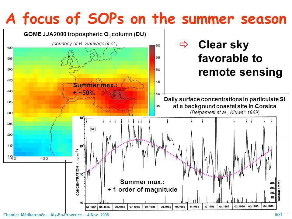 Chantier Méditerranée – Aix-En-Provence – 4 Nov. 2008 6/21 A focus of SOPs on the summer season GOME JJA2000 tropospheric O 3 column (DU) (courtesy of