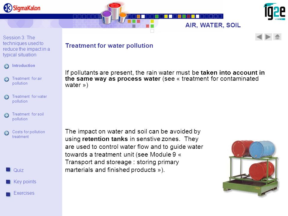 If pollutants are present, the rain water must be taken into account in the same way as process water (see « treatment for contaminated water ») The impact on water and soil can be avoided by using retention tanks in senstive zones.