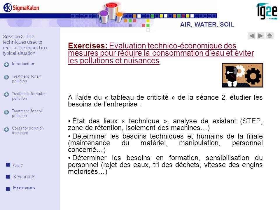 Exercises: Evaluation technico-économique des mesures pour réduire la consommation deau et éviter les pollutions et nuisances A laide du « tableau de