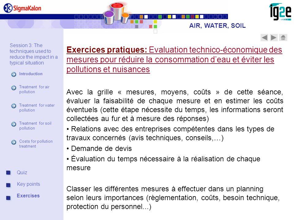 Exercices pratiques: Evaluation technico-économique des mesures pour réduire la consommation deau et éviter les pollutions et nuisances Avec la grille
