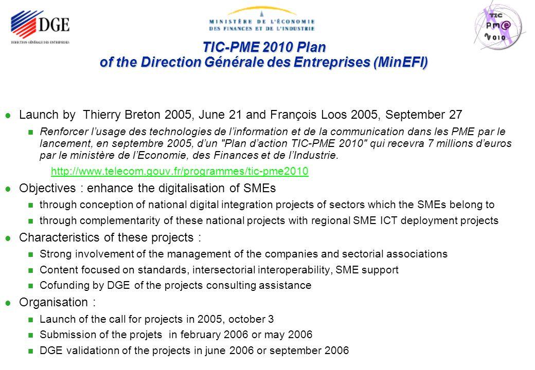 Page : 2 TIC-PME 2010 - June 2008 TIC-PME 2010 Plan of the Direction Générale des Entreprises (MinEFI) Launch by Thierry Breton 2005, June 21 and Fran