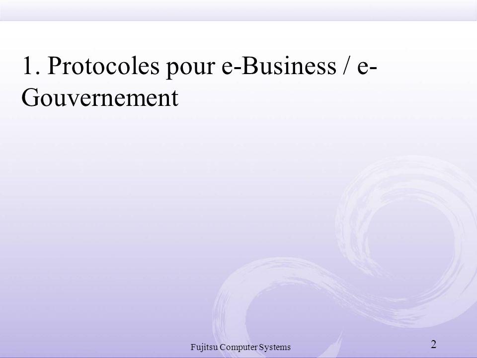 Fujitsu Computer Systems 2 1. Protocoles pour e-Business / e- Gouvernement