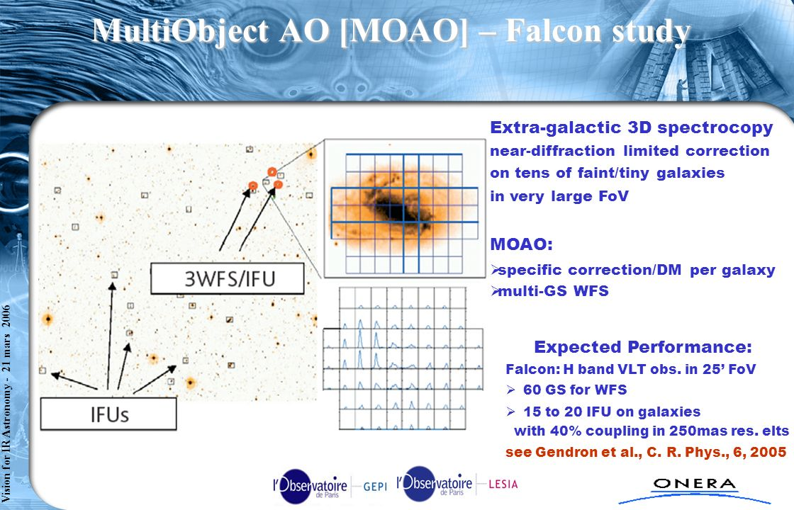 Comète axe 2 - TC1 : RSA n°2 - SPART/S t Cloud - 080304 Vision for IR Astronomy - 21 mars 2006 MultiObject AO [MOAO] – Falcon study Extra-galactic 3D spectrocopy near-diffraction limited correction on tens of faint/tiny galaxies in very large FoV MOAO: specific correction/DM per galaxy multi-GS WFS Expected Performance: Falcon: H band VLT obs.
