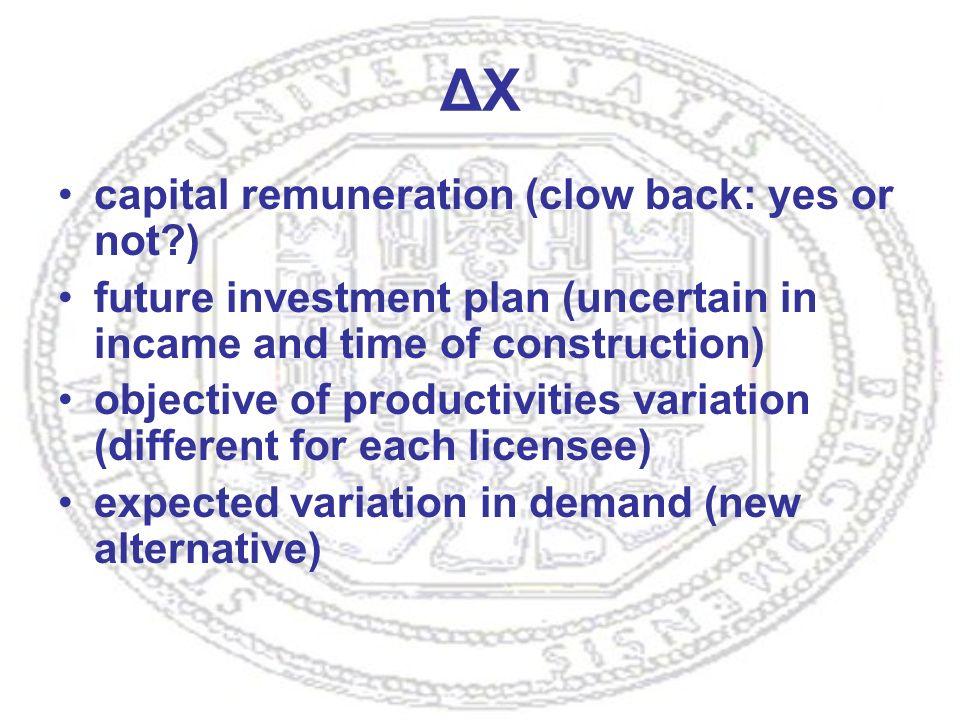 ΔX capital remuneration (clow back: yes or not ) future investment plan (uncertain in incame and time of construction) objective of productivities variation (different for each licensee) expected variation in demand (new alternative)