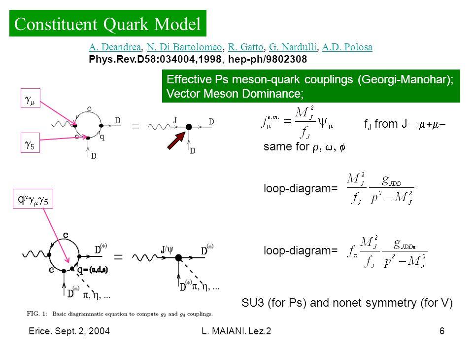 Erice. Sept. 2, 2004L. MAIANI. Lez.26 q 5 Constituent Quark Model A.