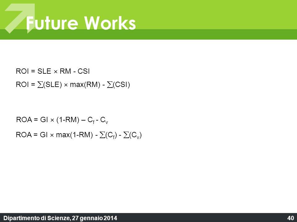 Dipartimento di Scienze, 27 gennaio 201440 Future Works ROI = SLE RM - CSI ROA = GI (1-RM) – C f - C v ROI = (SLE) max(RM) - (CSI) ROA = GI max(1-RM) - (C f ) - (C v )