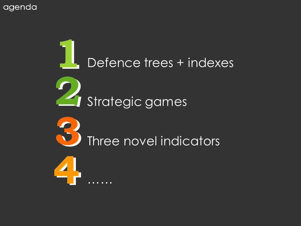 1 2 3 4 1 2 3 4 Defence trees + indexes Strategic games Three novel indicators …… agenda