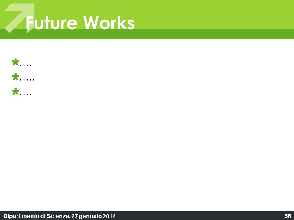Dipartimento di Scienze, 27 gennaio 201456 Future Works …. ….. ….