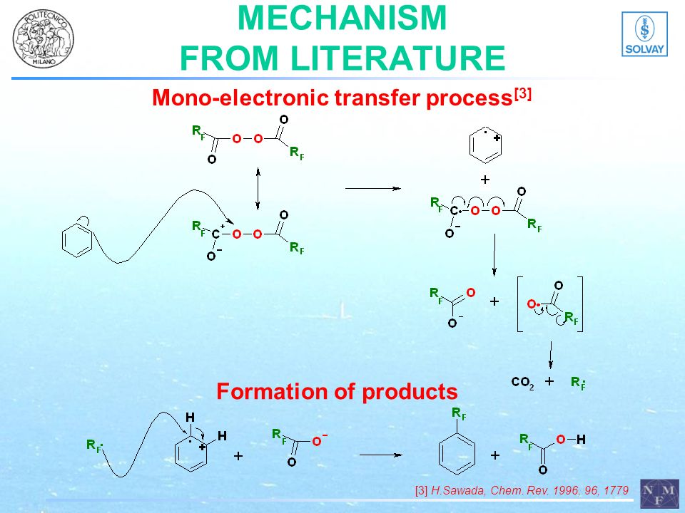 MECHANISM FROM LITERATURE Mono-electronic transfer process [3] Formation of products [3] H.Sawada, Chem. Rev. 1996, 96, 1779