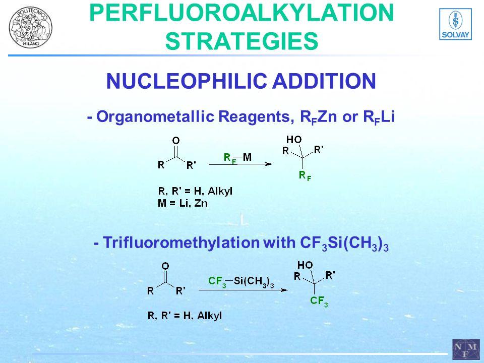 PERFLUOROALKYLATION STRATEGIES NUCLEOPHILIC ADDITION - Organometallic Reagents, R F Zn or R F Li - Trifluoromethylation with CF 3 Si(CH 3 ) 3