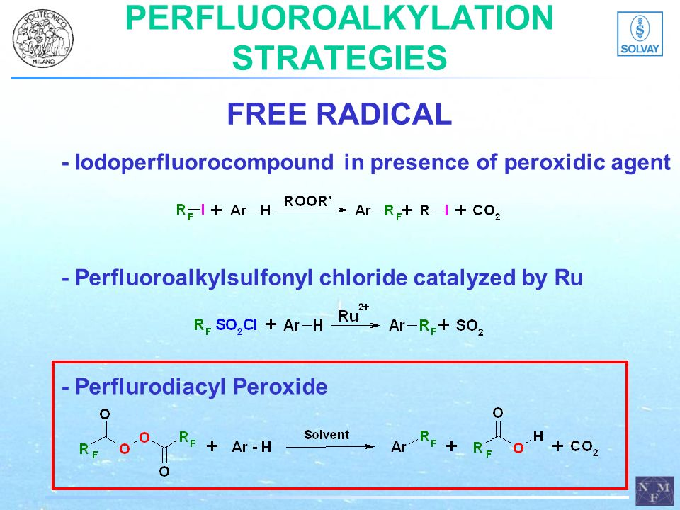PERFLUOROALKYLATION STRATEGIES - Iodoperfluorocompound in presence of peroxidic agent - Perfluoroalkylsulfonyl chloride catalyzed by Ru - Perflurodiacyl Peroxide FREE RADICAL