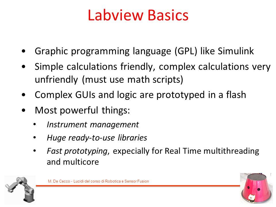 M. De Cecco - Lucidi del corso di Robotica e Sensor Fusion Graphic programming language (GPL) like Simulink Simple calculations friendly, complex calc
