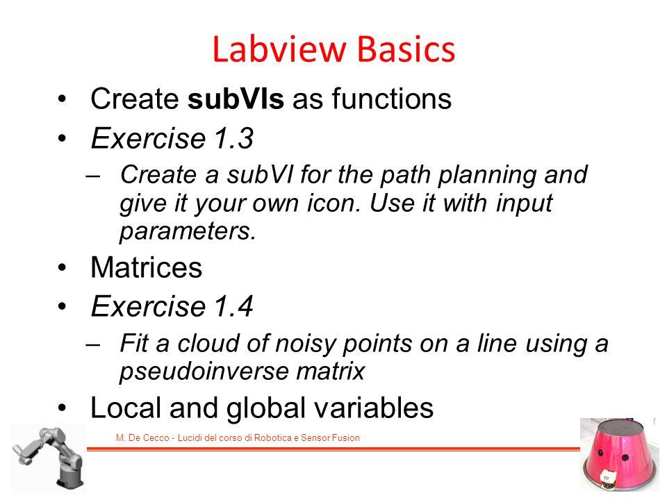 M. De Cecco - Lucidi del corso di Robotica e Sensor Fusion Create subVIs as functions Exercise 1.3 –Create a subVI for the path planning and give it y