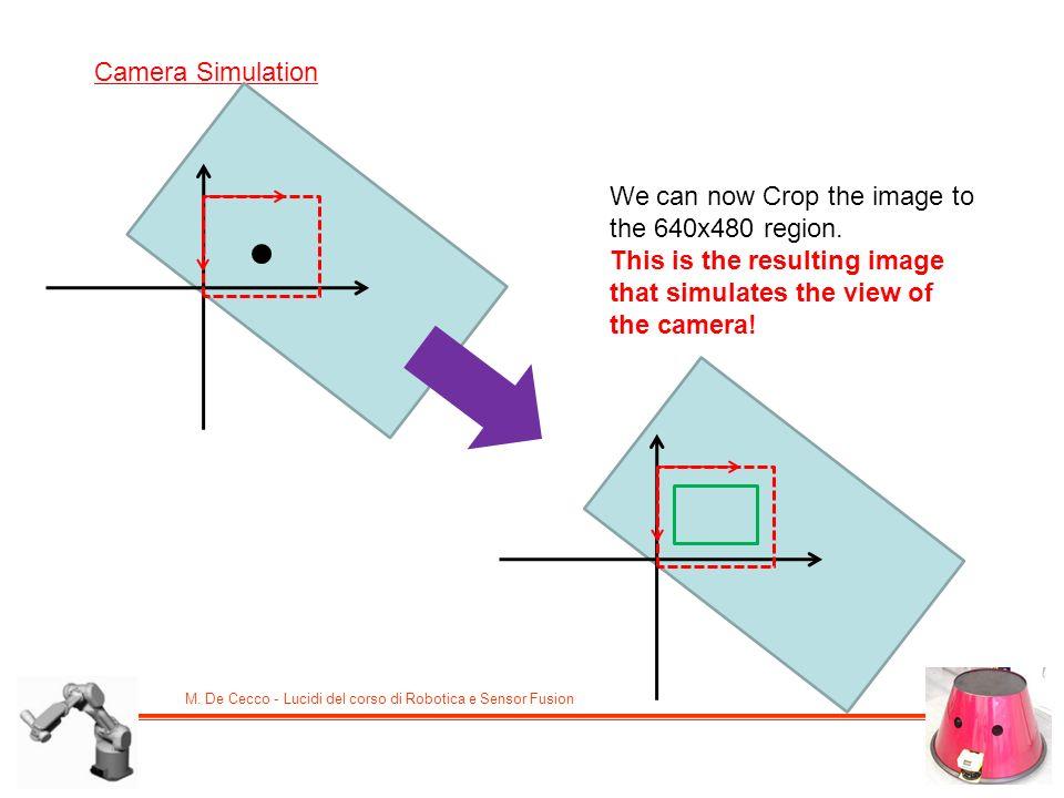 M. De Cecco - Lucidi del corso di Robotica e Sensor Fusion Camera Simulation We can now Crop the image to the 640x480 region. This is the resulting im