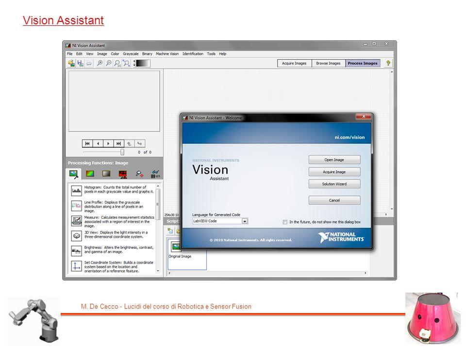 M. De Cecco - Lucidi del corso di Robotica e Sensor Fusion Vision Assistant