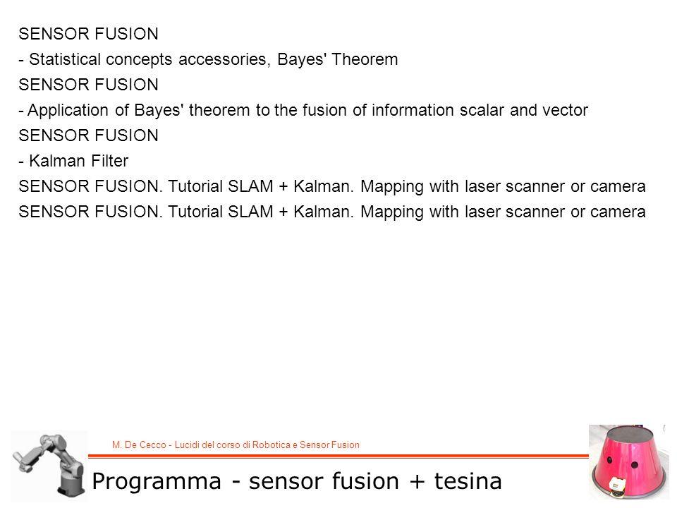 M. De Cecco - Lucidi del corso di Robotica e Sensor Fusion SENSOR FUSION - Statistical concepts accessories, Bayes' Theorem SENSOR FUSION - Applicatio
